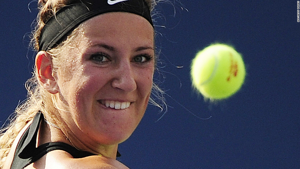 Belarus' Victoria Azarenka stares down the ball during her women's singles semifinals match against Russia's Maria Sharapova during the U.S. Open on Friday, September 7.