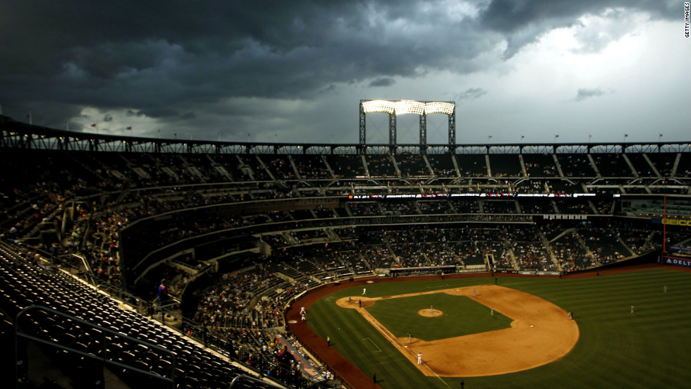 Storm clouds roll in at Citi Field in Queens, where the Atlanta Braves were playing the New York Mets on Saturday.