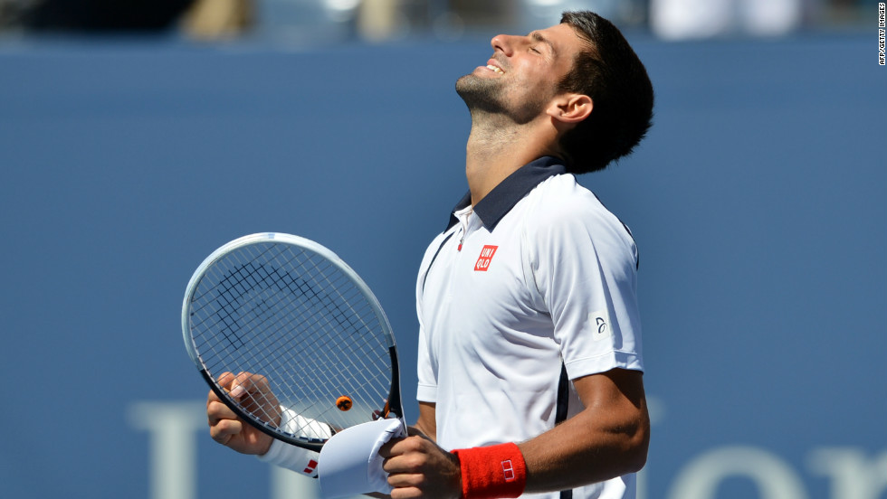 Novak Djokovic of Serbia celebrates his 2-6, 6-1, 6-4, 6-2 win over David Ferrer of Spain in the men's singles semifinal match at the 2012 U.S. Open on Sunday, September 9. The tournament, the last grand slam event of the year, continues through Monday in Queens, New York.