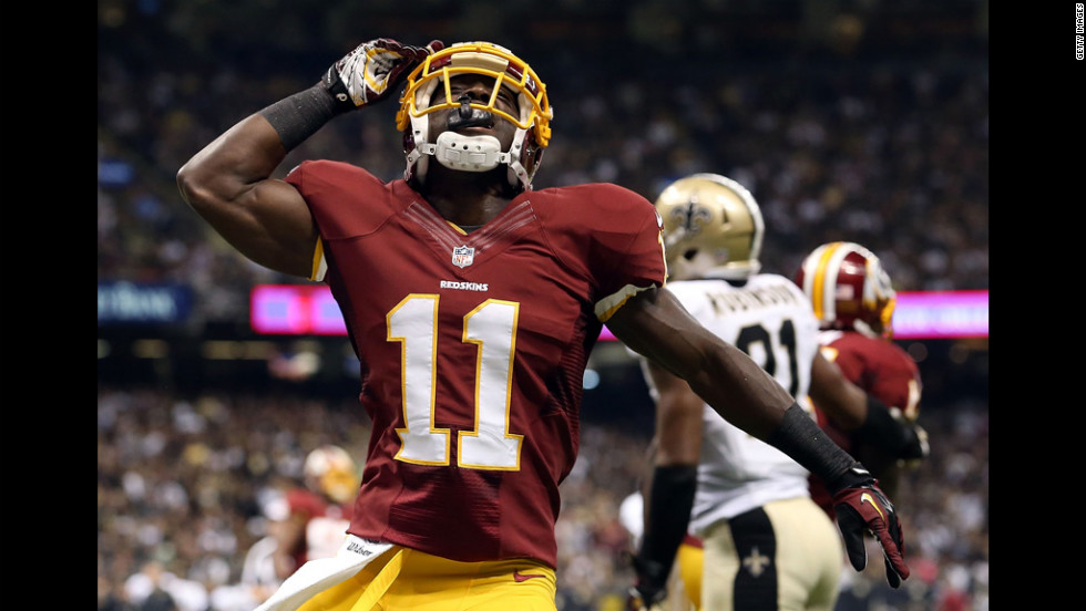 No. 11 Aldrick Robinson of the Redskins celebrates a touchdown against the Saints during their season opener in New Orleans on Sunday.
