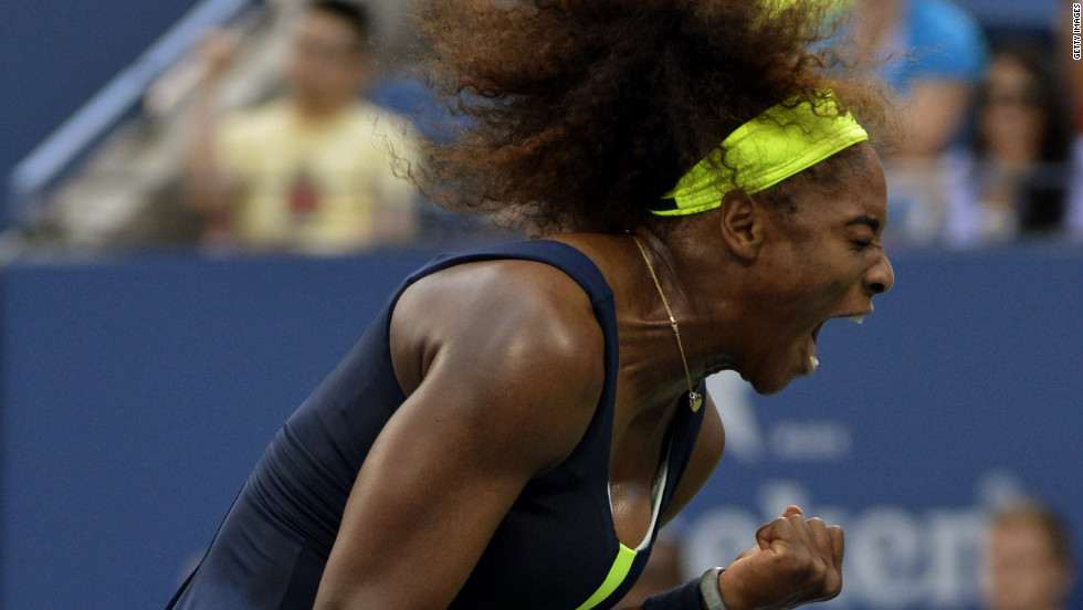 Williams reacts strongly in her match against Azarenka.