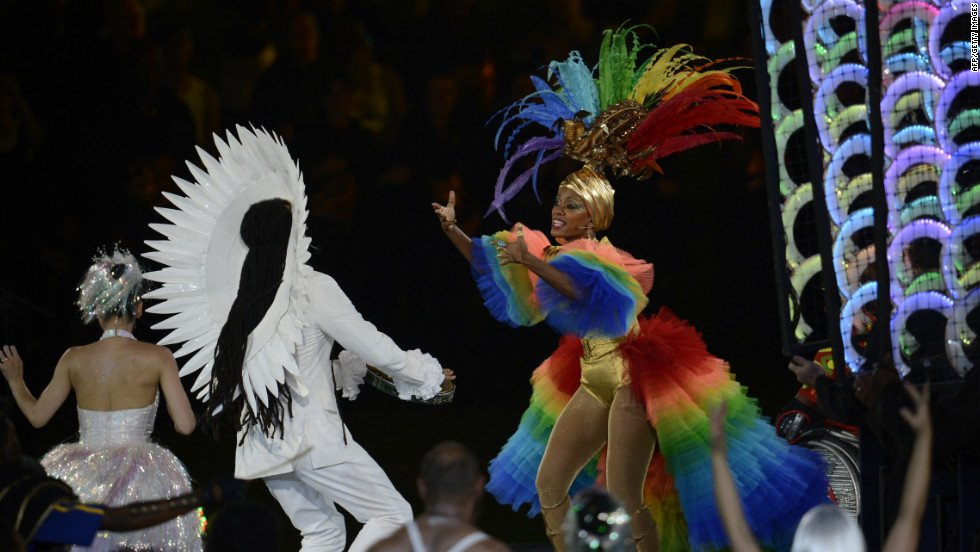 Brazilian dancers perform during the closing ceremony.