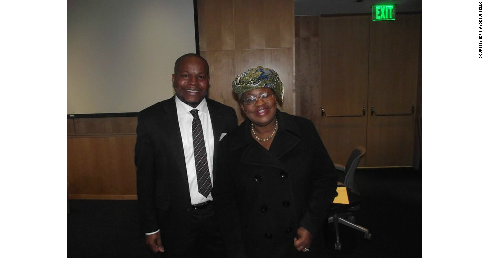 Bello pictured with Nigeria's finance minister, Ngozi Okonjo-Iweala.