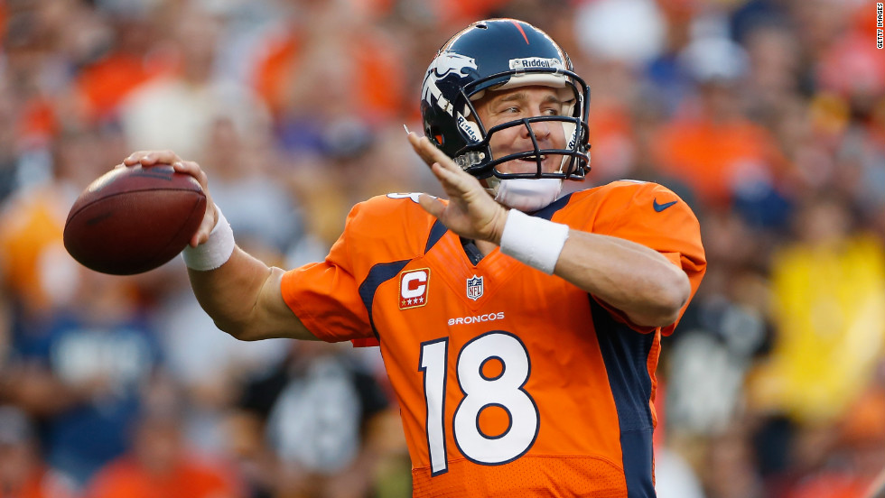 No.18 quarterback Peyton Manning of the Denver Broncos throws  against the Pittsburgh Steelers on Sunday.
