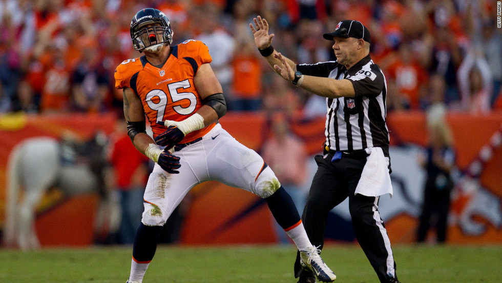 No. 95 defensive tackle Derek Wolfe of the Denver Broncos celebrates after making a sack during the first quarter against the Pittsburgh Steelers on Sunday
