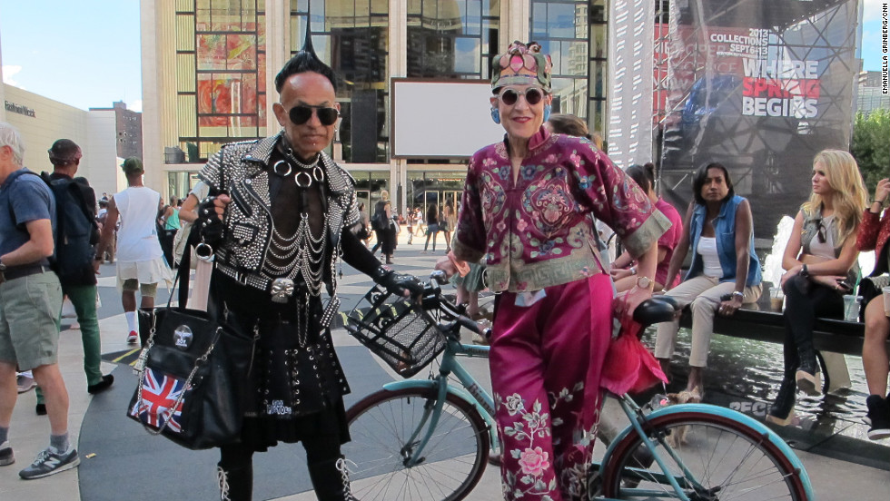 "An impromptu parade of people in colorful designer vintage assembled for the ""Advanced Style Fashion Show"" on Sunday, September 9, outside the tents of New York Fashion Week at Lincoln Center. Its purpose: ""To show that style, spirit and vitality aren't just for women in their 20s,"" said Ari Seth Cohen, creator of the ""Advanced Style"" blog, who organized the flash mob."