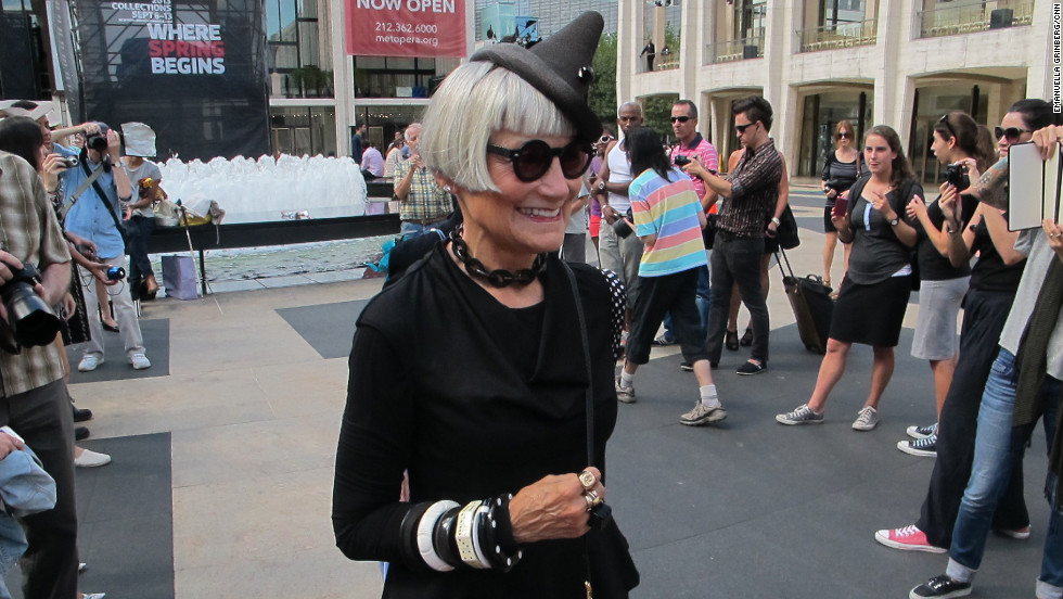"Jean (pictured) runs a blog called the Idiosyncratic Fashionistas, along with her friend Valerie, that documents their adventures in style. ""We  wanted to show everyone here for the shows that you don't have to be 22 to be stylish,"" Valerie said. ""When it's just Jean and I we're two eccentrics. But when you have a crowd there's a critical mass and it becomes a statement."""