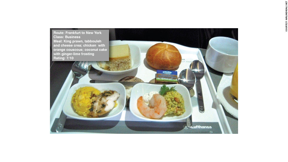 "George Stoner reviewed his in-flight food between Frankfurt and New York on AirlineMeals.com saying: ""Again service was a bit off -- note the lack of table cloth... The food itself was fine, especially the orange couscous."""