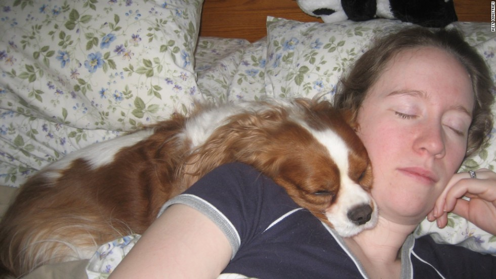 "Kelly Wahle lives with chronic migraine disease, Meniere's disease, fibromyalgia, irritable bowel syndrome and anxiety. Her dog, Mr. Knightley, passed away recently. He ""always took care of me,"" she said."
