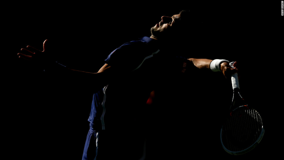 Novak Djokovic of Serbia serves during his men's singles final match against Andy Murray of Great Britain on Monday.