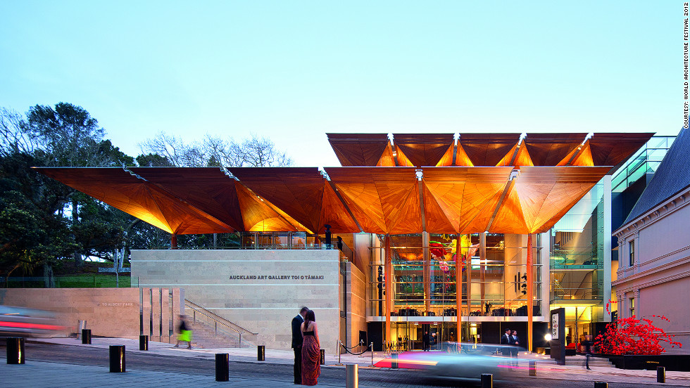 "Art Gallery Toi o Tāmaki in Auckland, New Zealand has been praised for its natural forms and ""moments of drama,"" such as the intricately crafted canopies over the atrium and forecourt.<br /><em>Designed by: Francis-Jones Morehen Thorp, Australia</em>"