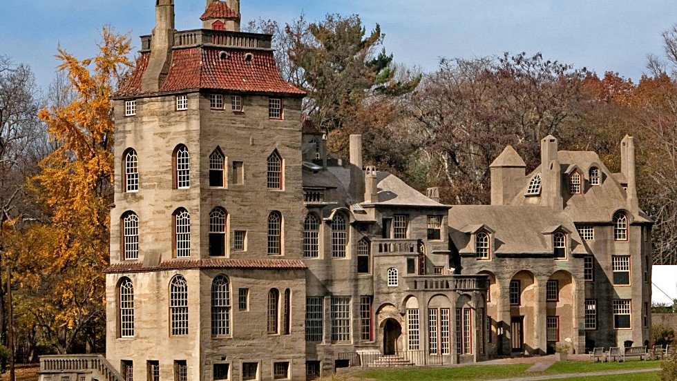 "This 100-year-old Bucks County estate now serves as a museum to pre-industrial life in Doylestown, Pennsylvania. <a href=""http://www.budgettravel.com/slideshow/photos-12-amazing-american-castles,8851/"" target=""_blank"">See more photos of the castles</a>"