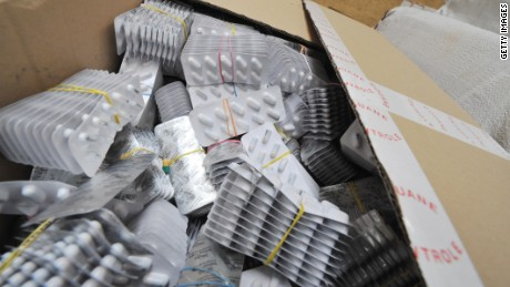Seized counterfeit medical pills are pictured at the customs building in Zaventem, north-east of Brussels, on October 2, 2008.