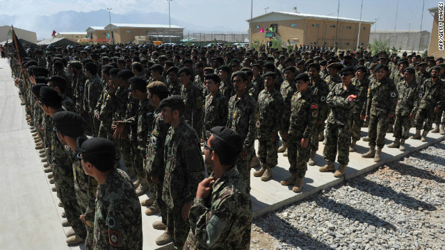 Afghan National Army (ANA) soldiers stand in formation at the US airbase in Bagram north of Kabul on September 10, 2012.
