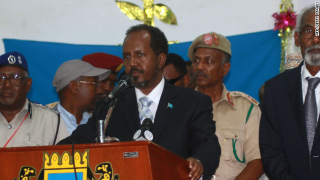 Somalia's newly elected President Hassan Sheikh Mohamud, pictured on September 10, 2012, delivering a speech in Mogadishu.