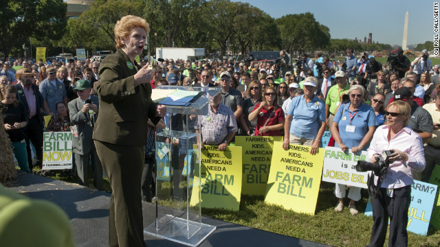 Senate Agriculture Chairwoman Debbie Stabenow spoke at a rally urging Congress to pass a farm bill before September 30.