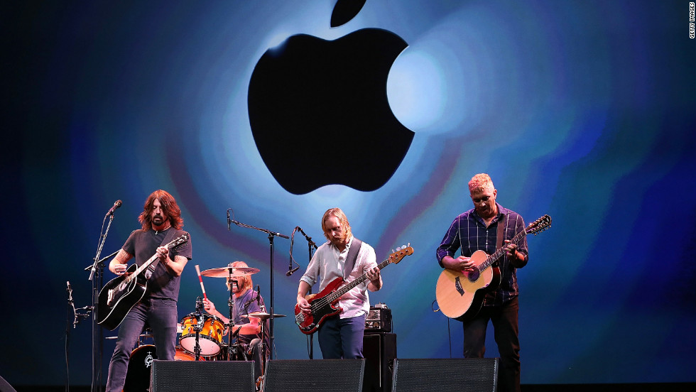 The Foo Fighters perform Wednesday during the iPhone 5 announcement event.