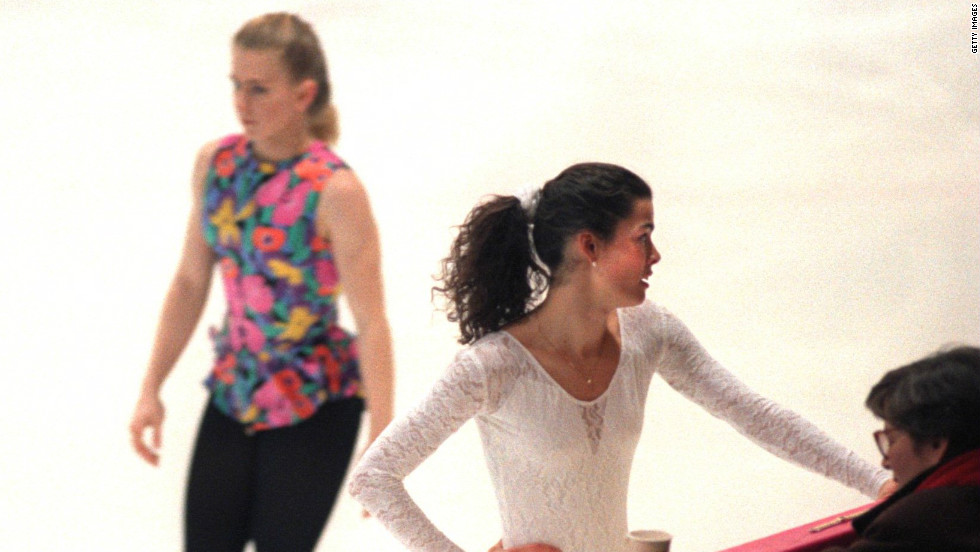 Tonya Harding (left) and Nancy Kerrigan studiously avoid one another as they train for the 1994 Winter Olympics, just one month after Harding's former husband had hired an assailant to break Kerrigan's legs. The latter had the last laugh as she took Olympic silver, with Harding finishing eighth.