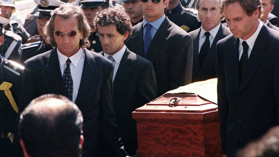 A grieving Prost (second from left), whose relationship with Senna changed after retirement and who says that a part of him died when the 34-year-old suffered a fatal crash in 1994, carries the Brazilian's coffin at his funeral in Sao Paulo.