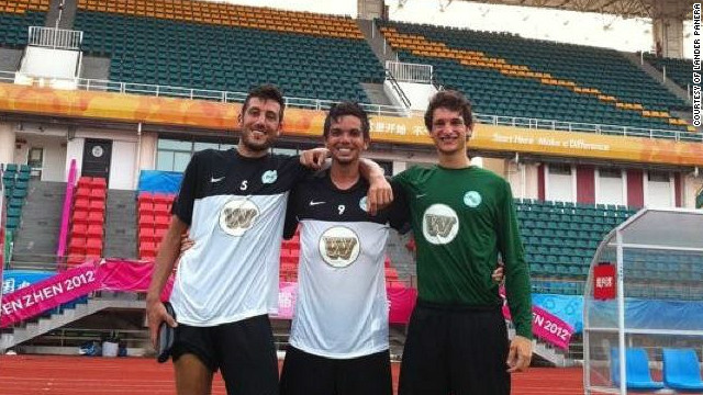Hong Kong Southern District player Lander Panera, center, stands with fellow Spanish teammates Diego Folgar Toimil and Diego Gómez Heredia.