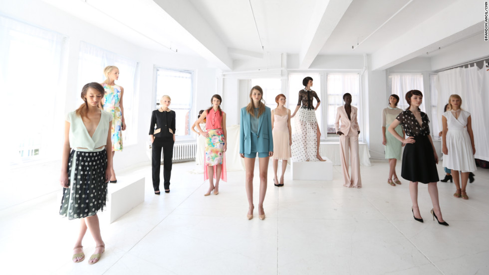 The 20-year-old stands front and center for designer Christine Alcalay's presentation of her 2013 spring season collection.