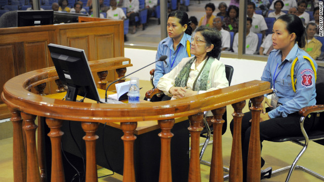 Ieng Thirith pictured in 2010 before the Extraordinary Chambers in the Court of Cambodia (ECCC) in Phnom Penh.
