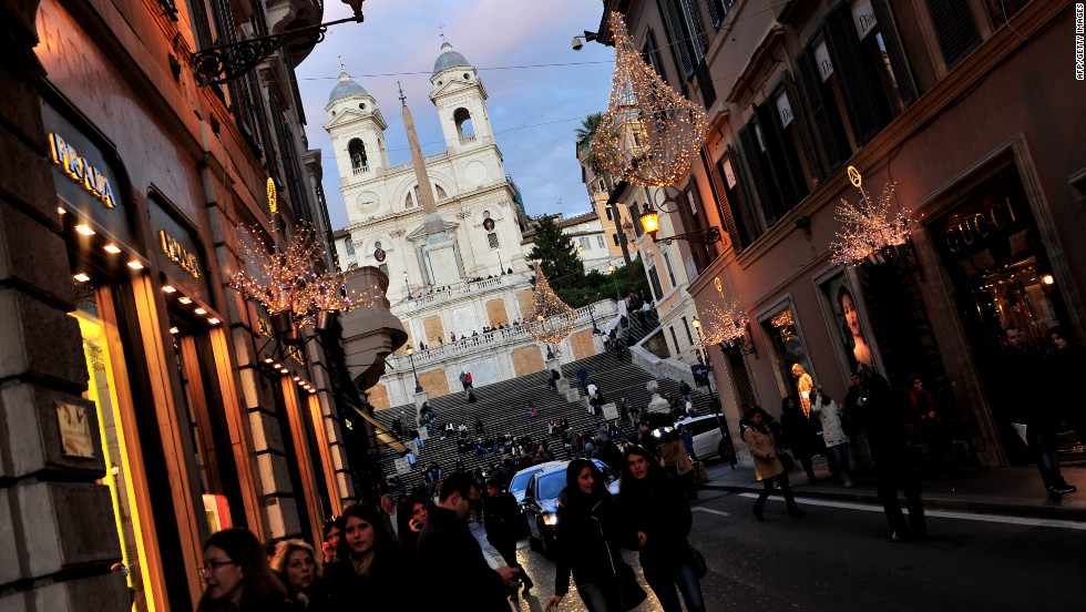 Explore Rome's luxury shops before heading to the coast.