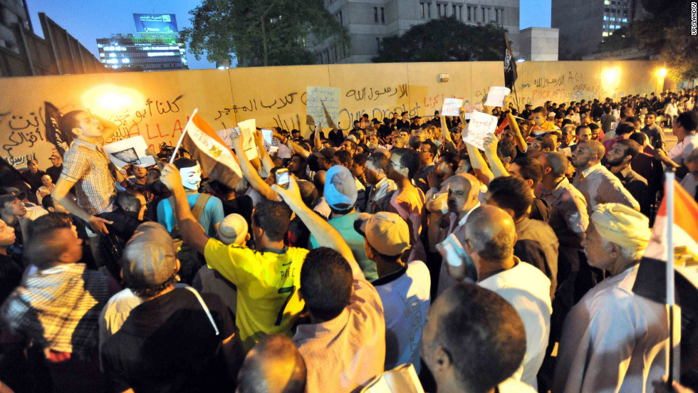 Egyptians shout slogans during a protest in front of the U.S. Embassy in Cairo.