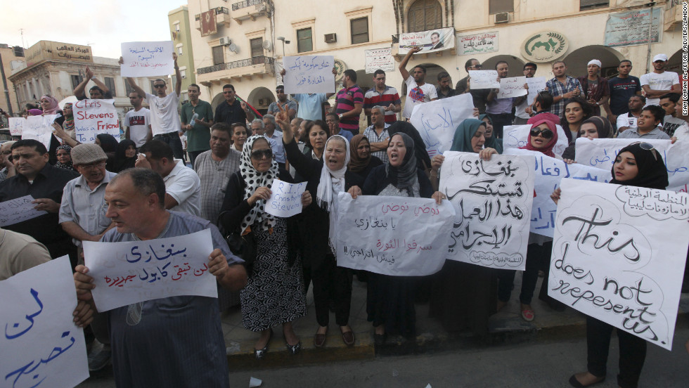 Demonstrators gather in Libya on September 12 to condemn the killers and voice support for the victims.