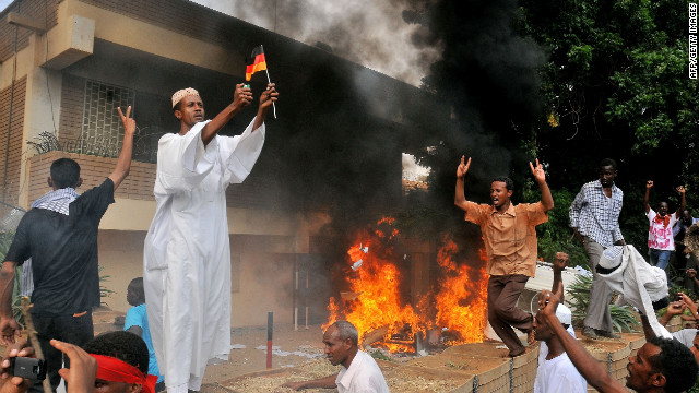 Sudan protesters burn German embassy