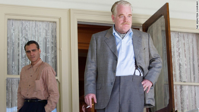 "Joaquin Phoenix stars as Freddie Sutton and Philip Seymour Hoffman stars as Lancaster Dodd in ""The Master."""