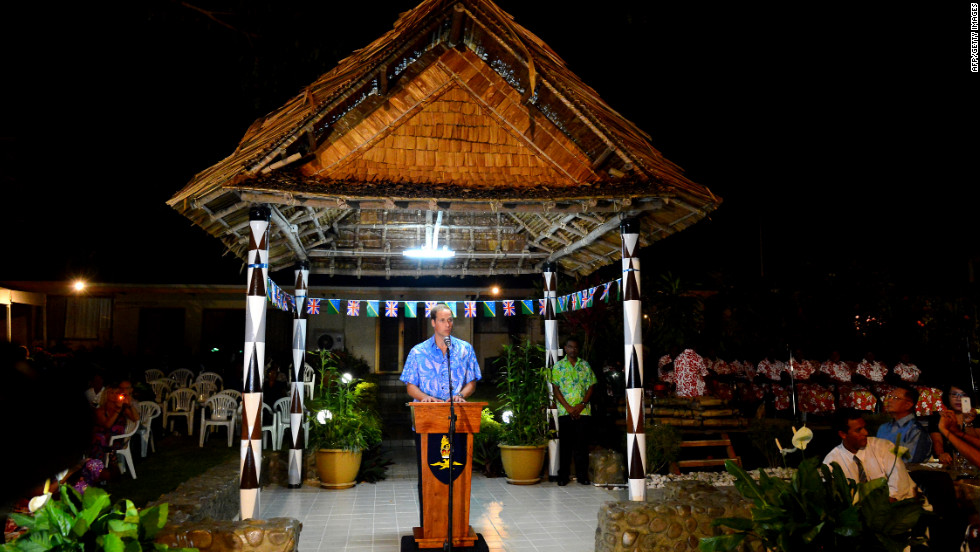 Prince William makes a speech at the Government House in Honiara on Sunday.