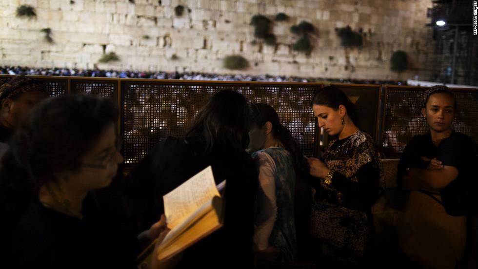 Religious Jews participate in the Slichot on Sunday.