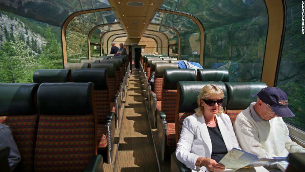 In the Via Rail Canadian Panorama Car, the glass dome allows passengers a scenic panorama during their trip.