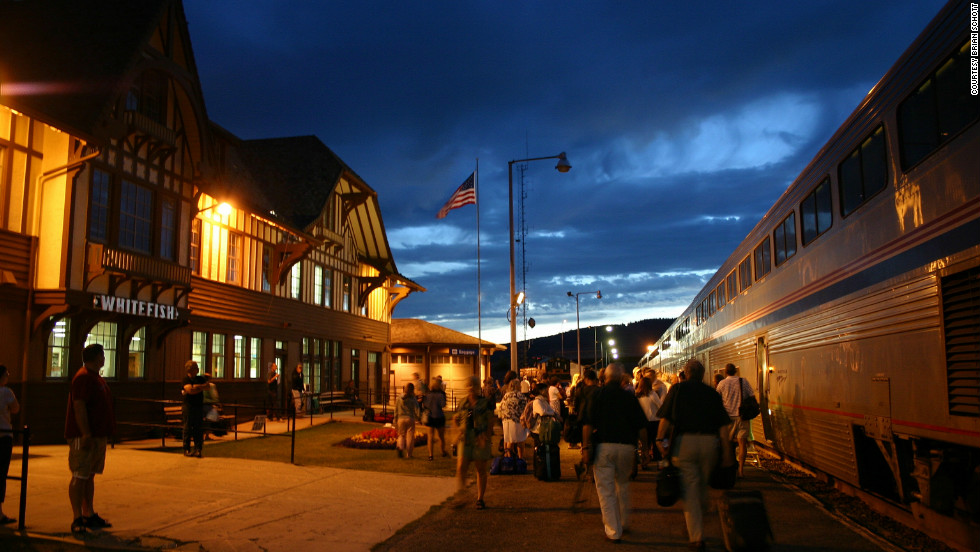 After traveling through the national partk, the Empire Builder makes a stop at Whitefish, Montana.