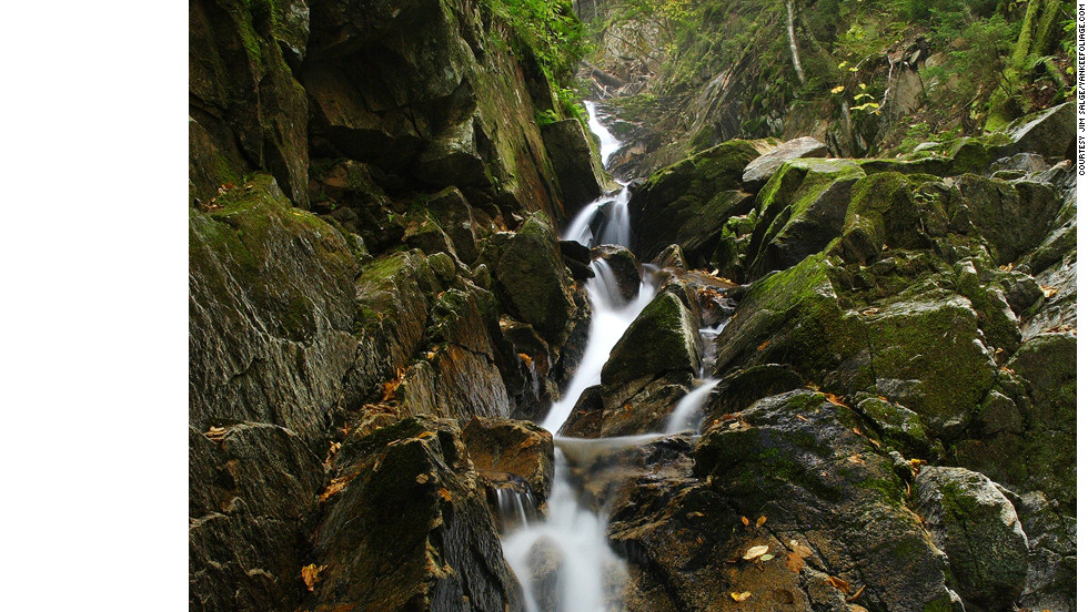 Hike the Huntington Cascades Trail at Dixville Notch State Park to catch the upper and lower falls known as the Huntington Cascades.