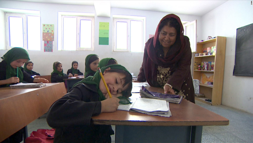 "Razia Jan is fighting to educate girls in rural Afghanistan, where terrorists <a href=""http://www.cnn.com/2012/08/02/world/meast/cnnheroes-jan-afghan-school/index.html"">will stop at nothing</a> to keep them from learning. She and her team at the Zabuli Education Center are providing a free education to about 350 girls, many of whom wouldn't normally have access to school. ""This honor is a God-given gift that will make it possible for me to continue to give a ray of hope to these girls,"" Jan said. ""My goal is to break the cycle of violence."" <a href=""http://www.cnn.com/2012/11/26/asia/gallery/heroes-jan/index.html"" target=""_blank"">See more photos of Razia Jan</a>"