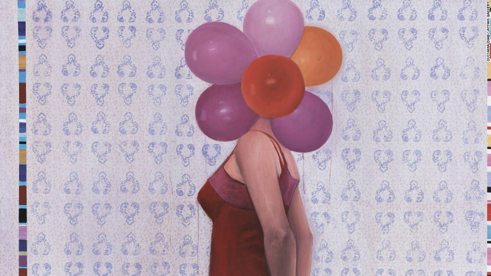 "The balloons in front of this woman's head represent the nice ideas she has in her head, Oussama Diab said of his artwork ""Balloon."""