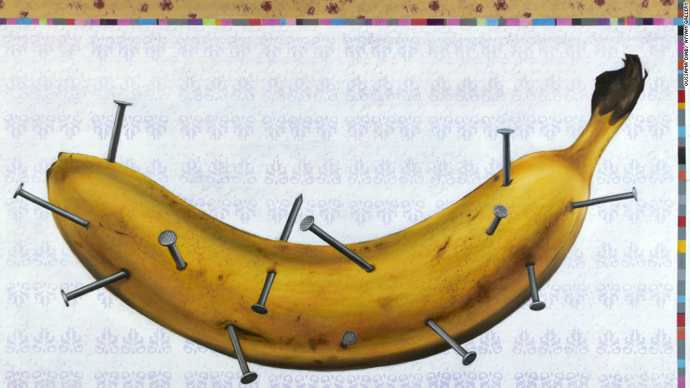 "The banana represents a sensitive person who is suffering from the nails sticking into him, said Oussama Diab. The artwork is called ""Human Being."""