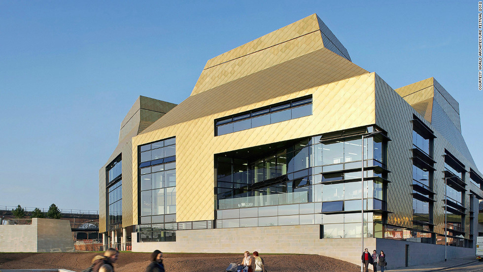 The UK's Hive library, which also integrates with a university, derives its name from distinctive golden 'honeycomb' cladding.<em>Designed by: Feilden Clegg Bradley Studios, UK</em>