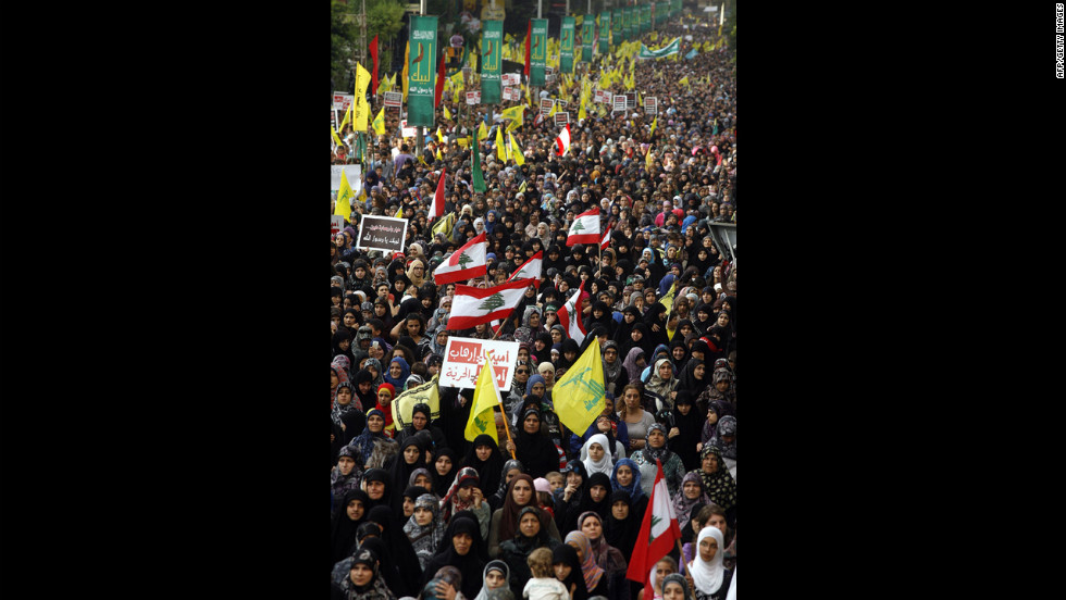 "Supporters of Lebanon's Hezbollah group march during a rally in southern Beirut to denounce the film mocking Islam on Monday, September 17. Hezbollah chief Hassan Nasrallah, who made a rare public appearance at the rally, has called for a week of protests across the country over the film, describing it as the ""worst attack ever on Islam."""