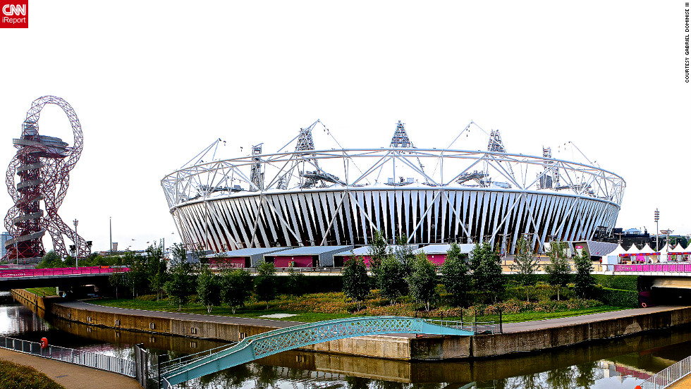 "Gabriel Dominise III sent in this picture of the Olympic Park in London. ""I love this building because its design is very unique and the construction is done in an environment-friendly way. It's surrounded by waterways and access to it is by five bridges. It's construction applied the principles of 'reduce, reuse and recycle,'"" Dominise said."