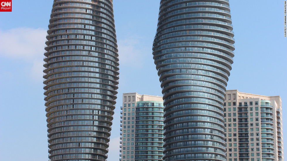"The Absolute Towers designed by Ma Yansong's MAD Studio with Burka Architects in the city of Mississauga in the western part of Greater Toronto. Captured by iReporter Sobhana Venkatesan, the structure has been dubbed the ""Marilyn Monroe Towers"" on account of their curvaceous nature. ""[The building] arouses curiosity and makes us wonder what aspect we admired at first gaze, art form or architecture,"" says Venkatesan."