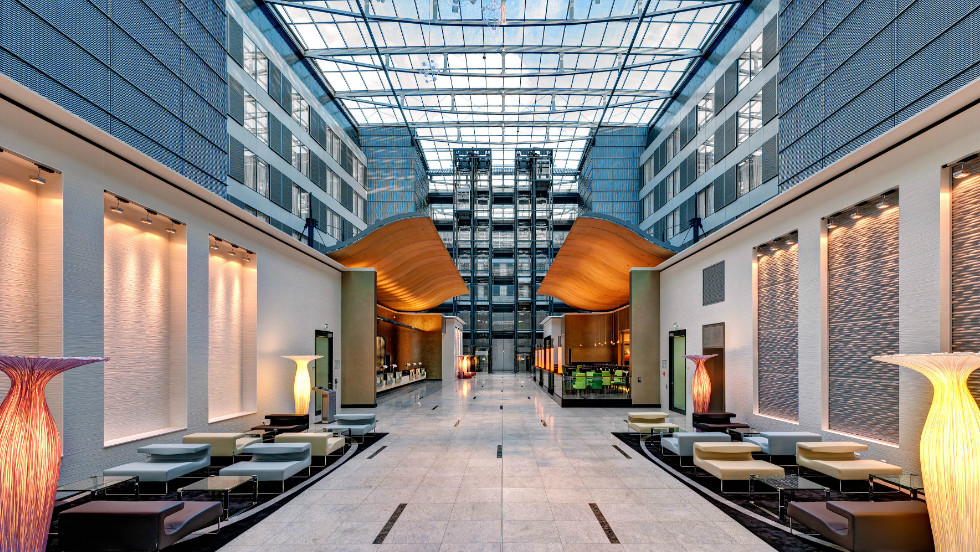 The Hilton Frankfurt Airport is a transportation guru's dream, located next to the airport commuter train station and between two major autobahns.