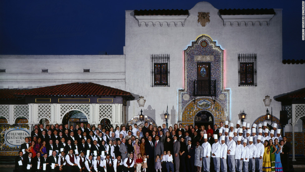 The 107-year-old Columbia restaurant in Tampa's Ybor City area claims the title of Florida's oldest restaurant and America's oldest Spanish restaurant. Here family and employees gather for the Columbia's 100th anniversary in 2005.