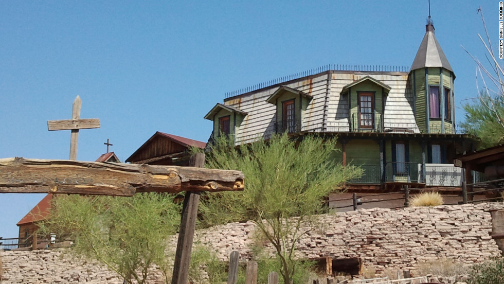 Goldfield's Church on the Mount is visible just past the cemetery and the Main Street shops.