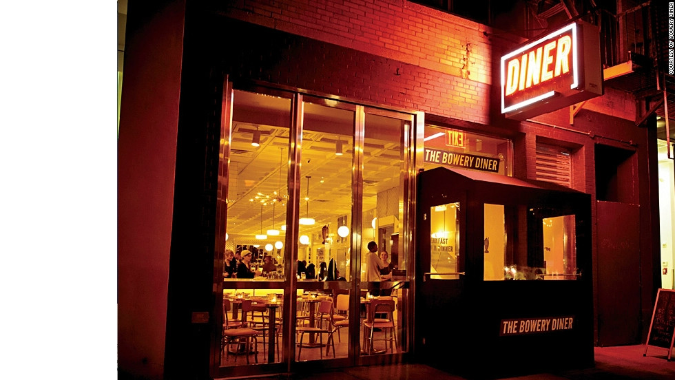 Chef Mathieu Palombino's Bowery Diner draws a large late-night crowd thanks to its nostalgic menu and stainless-steel and leather aesthetic.