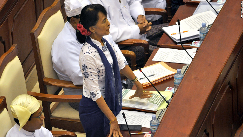 Suu Kyi speaks during a regular session at the lower house of parliament in Naypyidaw, Myanmar, on July 25, 2015. Suu Kyi called for laws to protect the rights of the nation's myriad ethnic minorities in her inaugural address to the fledgling parliament.