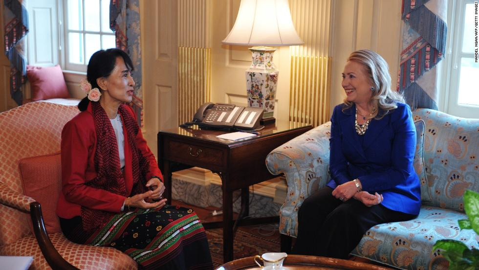 Suu Kyi meets with Secretary of State Hillary Clinton on Tuesday, September 18, in Clinton's office at the State Department in Washington. It was her first visit to the U.S. in 20 years.