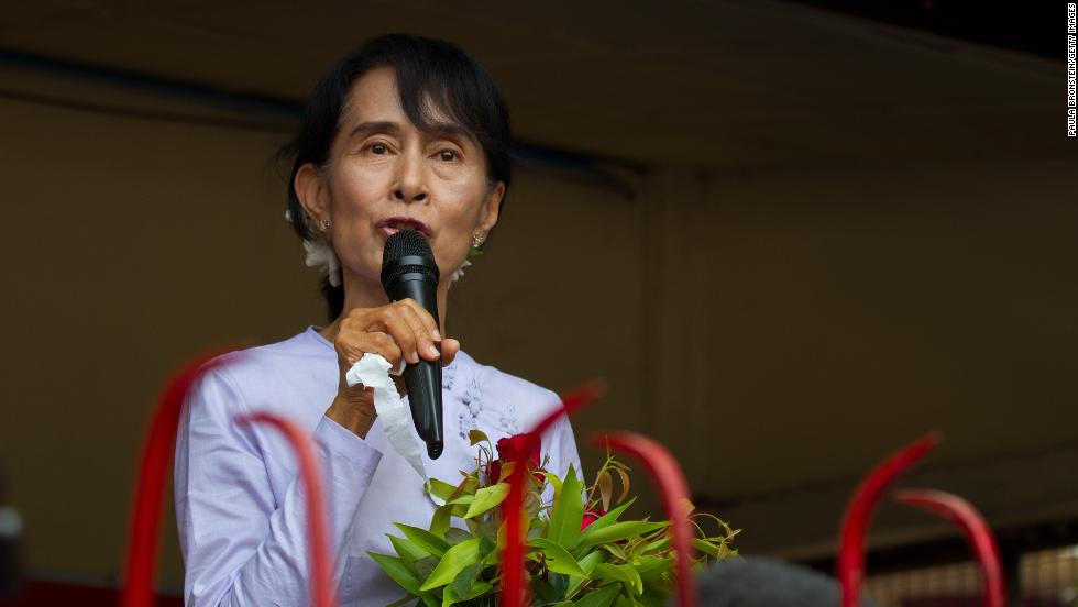 Suu Kyi speaks at the National League for Democracy party headquarters after after a landslide victory for a seat in the parliament on April 2, 2015 in Yangon. The NLD claimed 43 out of 44 parliamentary seats as the country continues its path of political and diplomatic reform.